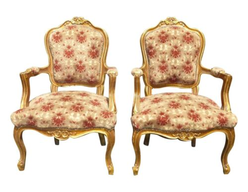 Pair Antique Ornate French Rococo Louis XV Gold Orange Velvet Arm Chairs