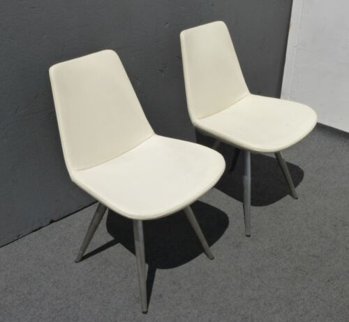 Vintage Contemporary Style White Vinyl Accent Chairs w Metal Peg Legs Italy