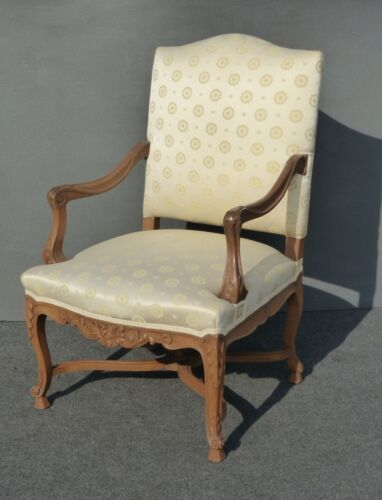 Vintage French Provincial Ornate Carved Wood Emblems Silk Blend Throne Chair