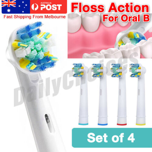 Oral B Compatible Electric Toothbrush Replacement Brush Heads x4 - FLOSS ACTION