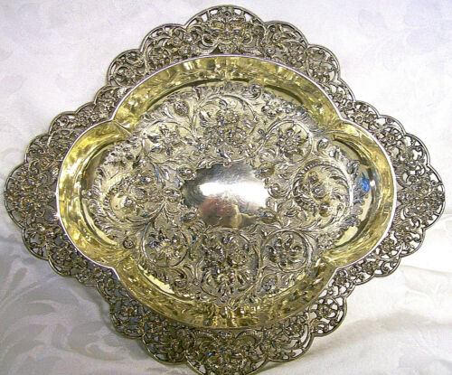 ANTIQUE STERLING SILVER DISH, GOLDSMITHS SILVERSMITHS, LONDON ENGLAND