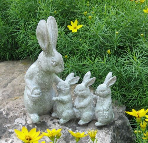 BUNNY RABBIT Mom/3 Babies*Sculpture*Primitive/French Country/Farmhouse Decor*NEW