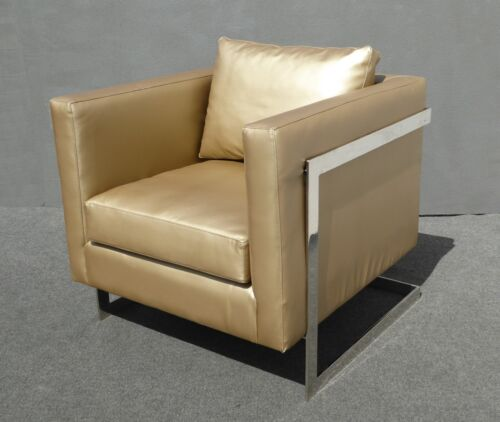 Vintage Contemporary Style Gold Vinyl & Chrome Accent Chair