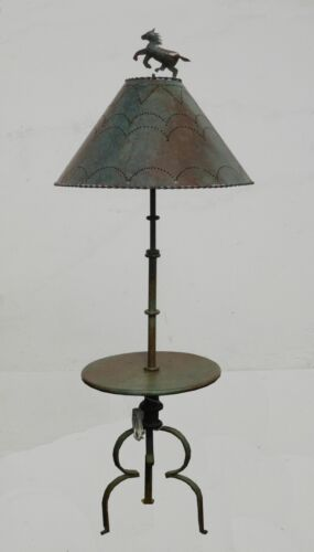 Designer Wrought Iron Western Cowboy Horse Motif Floor Lamp Light w Metal Shade