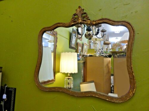 Vintage French Provincial Style Dark Gold Gilt Wall Mirrror Curved Floral Frame