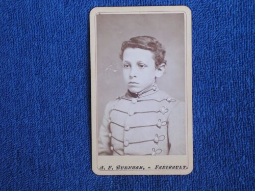 Very Young Shattuck Military Academy Cadet/1860s-1870s Burnham Albumen Photo CDV