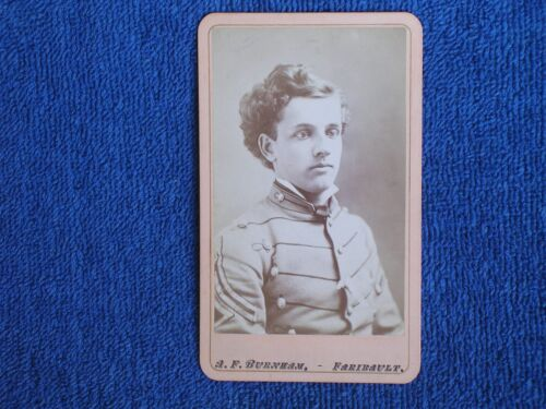 Young Shattuck Military Academy Cadet/1860s-1870s A F Burnham Albumen Photo CDV