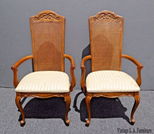 Pair of American of Martinsville French Country Carved Oak Wood & Cane Chairs