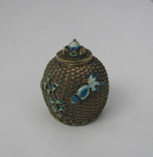 Miniature Chinese Gold Wash Sterling Vapor? Lidded Jar With Enamel Fish & Detail