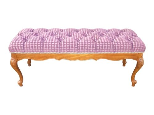 Vintage French Provincial Tufted Lilac Velvet Diamond Pattern Upholstered Bench