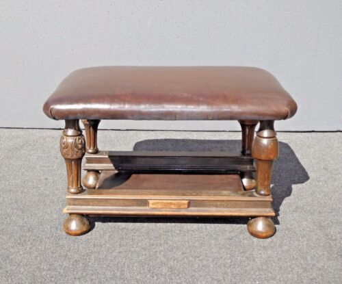 Antique Victorian Style Brown Leather & Carved Wood Bench Foot Stool Ottoman