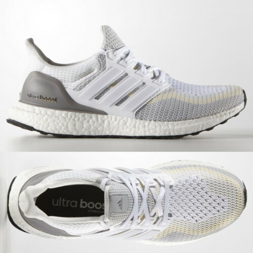 adidas Ultra Boost 2.0 Mens White Grey Running Shoes AQ4007 UltraBOOST 7.5, 11