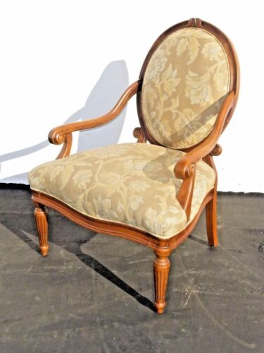 Designer Sam Moore Vintage French Country Round Back Floral Design Arm Chair