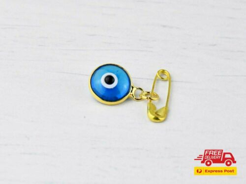 Gold Colour Lucky Blue Evil Eye Glass Protection Safety Pin Brooch For Baby  <br/> Good Luck Baby Protection Stroller Pin Greek Mati Eye