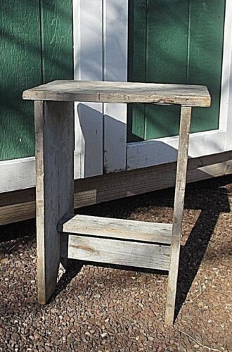 SMALL antique VINTAGE primitive WOODEN BUCKET BENCH 11-1/2 x16-1/2 WASH STAND