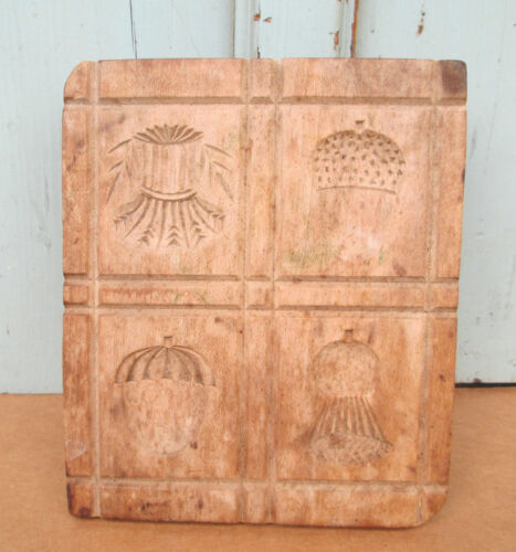 old BUTTER MOLD STAMP multi PRINT sheath of wheat - acorn - strawberry - thistle
