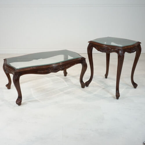 French Louis XV style Coffee & 2 Side Tables set Mahogany with Glass top