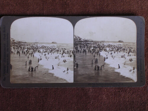 Atlantic City NJ/Bathers in Surf/1901 H C White Stereoview