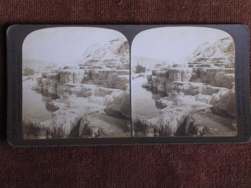 Tellowstone Park/Mammoth Hot Springs-Cleopatra Terraces/H C White Stereoview