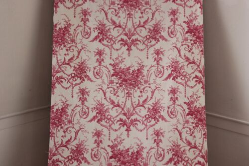 Toile Pink Rococo fabric material French printed cotton c 1850 material