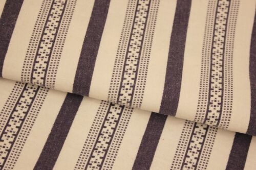 Vintage Clothing Fabric French Striped Printed Cotton PURPLE w/ curtain rings