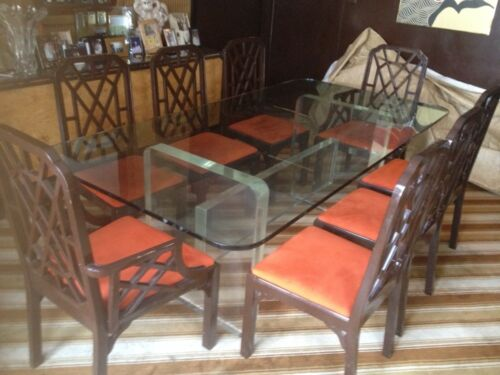 Spectacular Dining Room Chairs Set of 8 Dark Brown Lacquer Burnt Orange Seats
