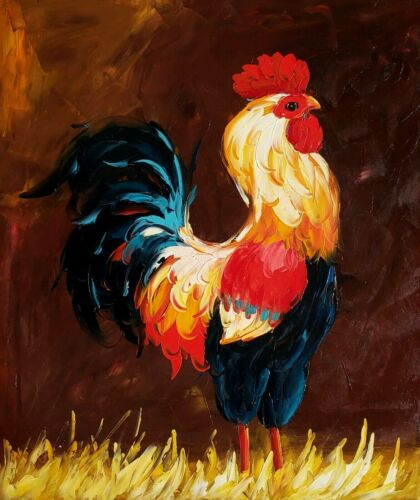 Rooster,  Item No.- 8 , 20x24, 100% Hand painted Oil Painting on Canvas