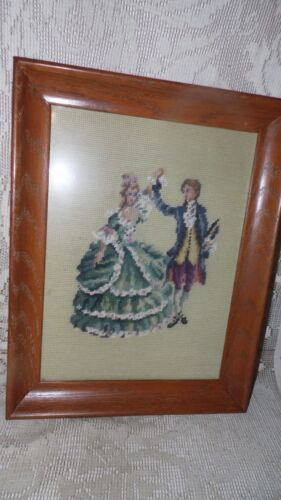 VINTAGE TAPESTRY VICTORIAN COUPLE DANCING NEEDLEPOINT WOOD FRAMED PICTURE