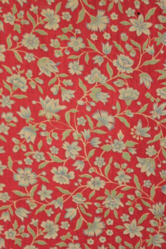 Fabric Vintage French daybed cover w/ ruffle c1930 red floral cotton bedspread