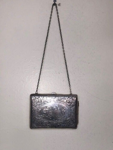 Victorian Silver Monogrammed Coin Dance Card Purse on Chain 9260
