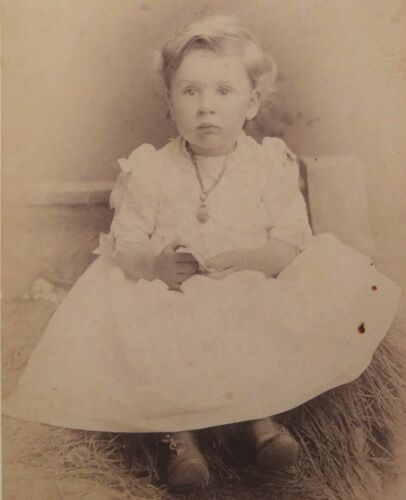ANTIQUE 1880's CABINET  PHOTOGRAPH - BUTLER MISSOURI LITTLE GIRL POSING