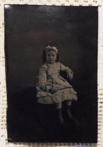 ANTIQUE 1860'S THRU 1870'S TINTYPE PHOTOGRAPH - COLORIZED LITTLE GIRL IN DRESS*