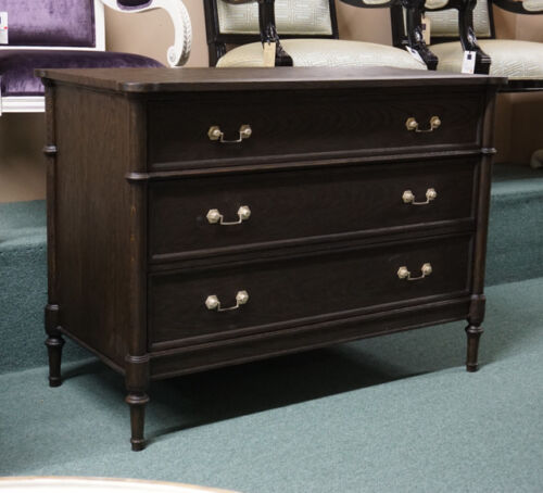 French Oak 3 Drawer chest of drawers Dresser with brass hardware