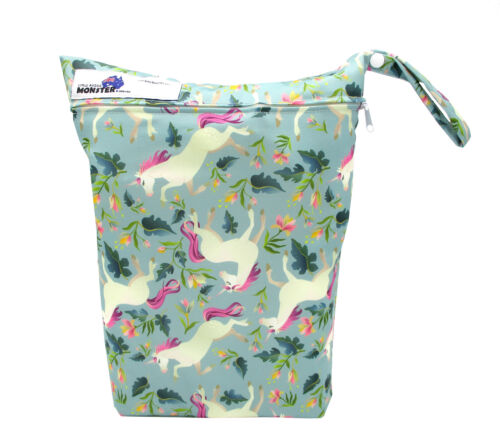REUSABLE MULTIUSE WET BAG FOR CLOTH NAPPY/DIAPER SWIMMERS UNICORNS