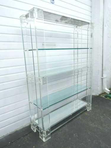 Hollywood Regency Mid Century Lucite and Glass Large Display Cabinet 9633