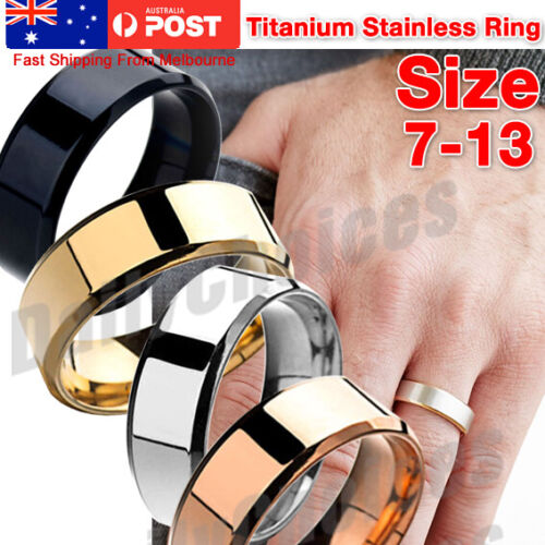Mens Titanium Stainless Steel Ring Promise Engagement Wedding Ring Band Size8-11