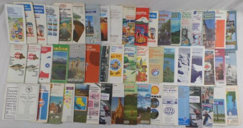 Gas Station Oil Company Road Maps,Mostly United States,1970's-2000's, Lot of 54