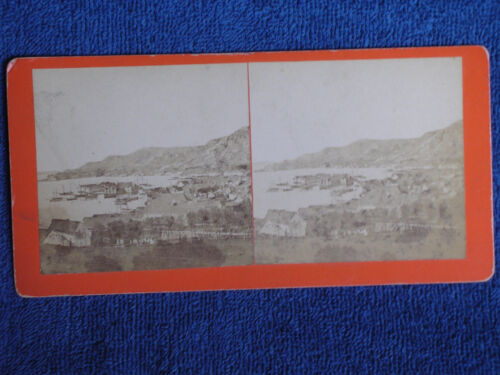 Sandvig Norway/Bird's Eye View of Harbor/Albumen Photo Stereoview