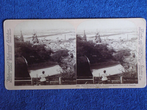Nizhny-Novgorod Russia/Bird's Eye View of City/1898 Underwood Albumen Stereoview