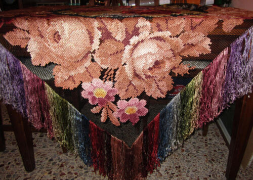 TOVAGLIA ANTICA LAVORATA MANO FILET-OLD TABLE CLOTH-ANCIENNE CHIFFON-ALTE TUCH