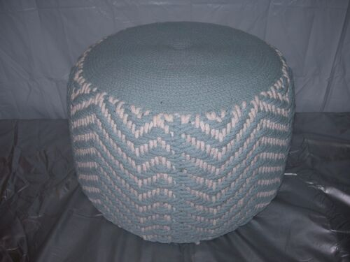 Vintage~Woven Rope~Nautical BLUE & WHITE Hassock OTTOMAN Pouf Footstool~Retro