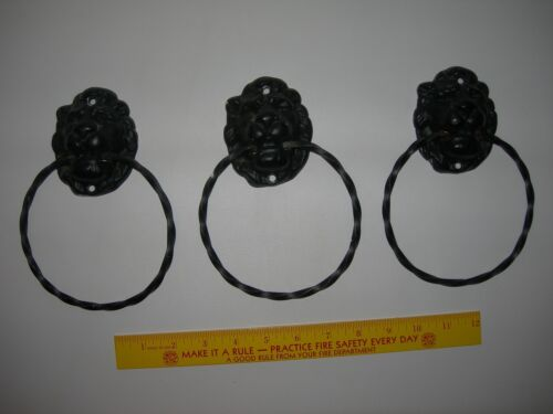 Set of 3 Vintage~Cast Iron LION HEADS~MGM Style~Knockers