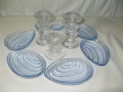Vintage set 6-Art Glass~Clam Shell Bowls~Mid Century Modern Blue Dish~Nautical