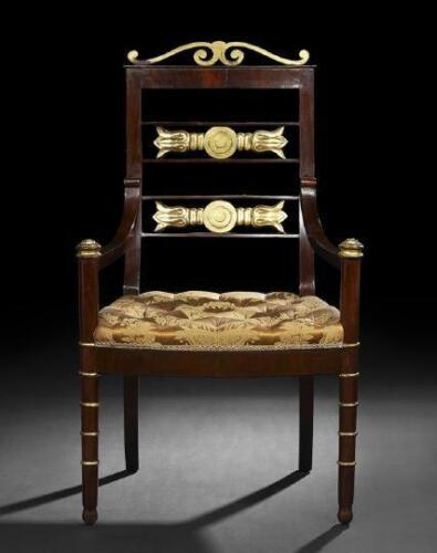 RARE IMPORTANT RUSSIAN NEOCLASSIC MAHAGONY GILT CHAIR C.1820!!!