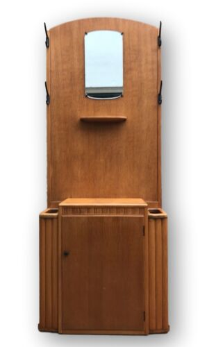 Early Mid Century/Deco Coat hallway Stand & Cupboard 1930s By LEBUS