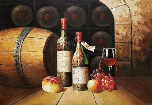 Wine Cellar Still Life  - #2, 24x36 100% Hand painted Oil Painting on Canvas