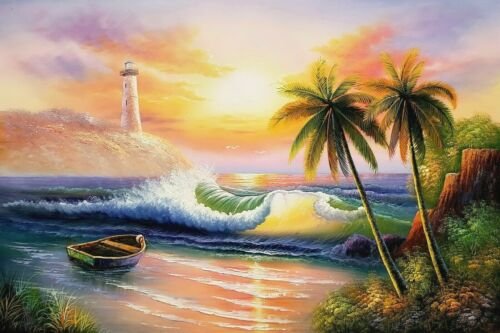 Sunset Beach - #3,  24x36,100% Hand Painted Oil Painting on Canvas