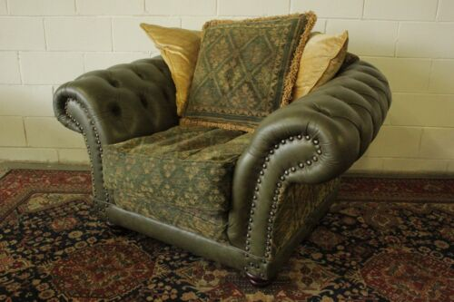 POLTRONA CLUB CHESTERFIELD / CHESTER PELLE VERDE GREEN / INGLESE / ORIGINAL