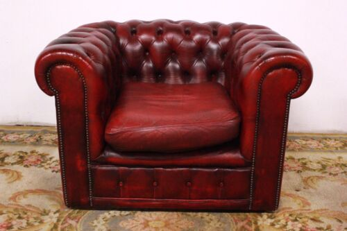 Poltrona club chesterfield bordeaux pelle originale inglese / leather / england