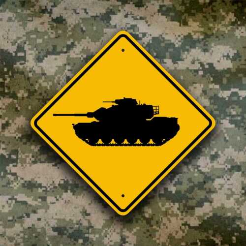 Tank Crossing Sign / Mobile Artillery  - Military Ordnance - Field Safety PlaqueOther Militaria - 135